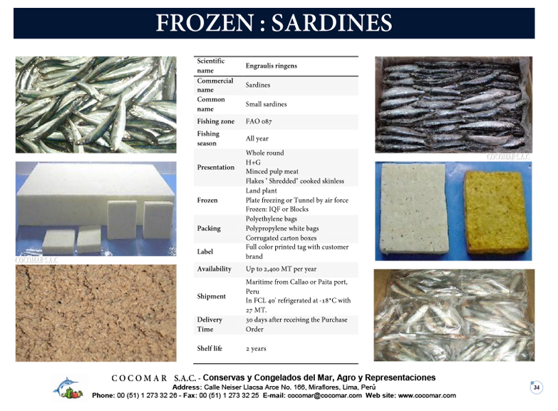 7.- Cocomar (Peru) – Frozen – Sardines or Anchovy