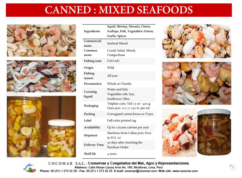 12.- Cocomar (Peru) – Canned – Mixed Seafood