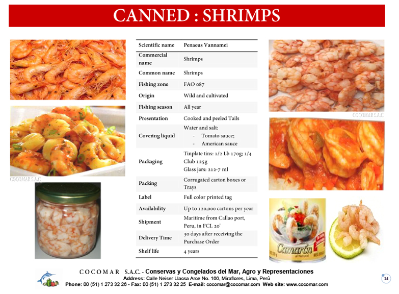 16.- Cocomar (Peru) – Canned – Shrimps