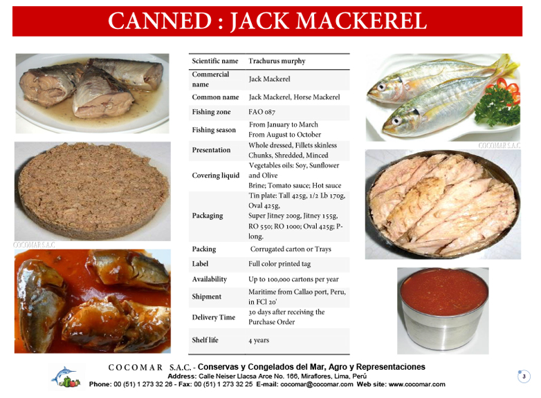 2.- Cocomar (Peru) – Canned – Jack Mackerel