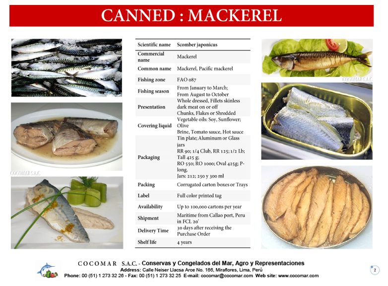 5.- Cocomar (Peru) – Canned – Mackerel