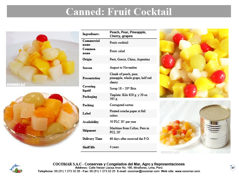 Canned – Fruits cocktail